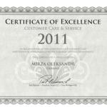 Сертифікат Відмінності за надання якісного Сервісу